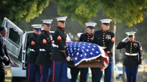 Farrell Gilliam was buried in Fresno Jan. 21, carried to his grave by Marine pallbearers and friends. (Courtesy Gilliam family.)