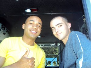 Cpl. Farrell Gilliam and his brother Daniel Lorente in a Palo Alto fire truck in 2011 on the way to Gilliams flying lesson with a cousin. Courtesy photo