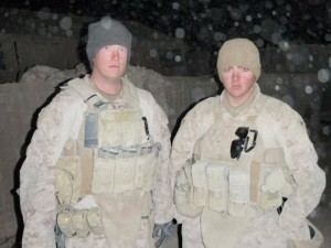 Cpl. Farrell Gilliam (right) on a 2010-2011 deployment to Sangin, Afghanistan.