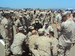 Cpl. Farrell Gilliam is reunited with his unit for the first time in May 2011 at Camp Pendleton, at a memorial ceremony for 25 killed in action serving in Sangin, Afghanistan with the 3rd Battalion, 5th Marine Regiment. Courtesy photo